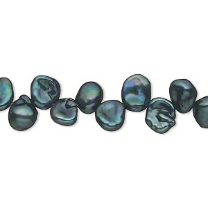 pearl, cultured freshwater (dyed), iris green, 7x5mm-8x6mm top-drilled petal, d grade, mohs hardness 2-1/2 to 4. sold per 16-inch strand.