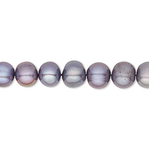 pearl, cultured freshwater (dyed), lilac, 7-8mm semi-round, c grade, mohs hardness 2-1/2 to 4. sold per 16-inch strand.