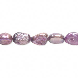 pearl, cultured freshwater (dyed), orchid, 6-7mm flat-sided rice, d grade, mohs hardness 2-1/2 to 4. sold per 15-inch strand.