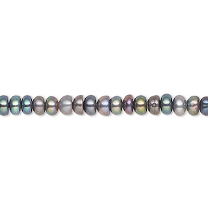 pearl, cultured freshwater (dyed), peacock, 4x3mm-5.5x3.5mm button, b- grade, mohs hardness 2-1/2 to 4. sold per 16-inch strand.