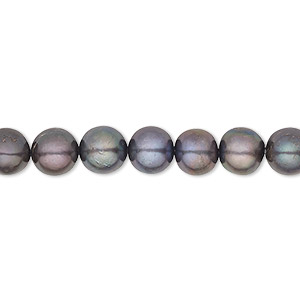 pearl, cultured freshwater (dyed), peacock, 7-8mm semi-round, b grade, mohs hardness 2-1/2 to 4. sold per 16-inch strand.