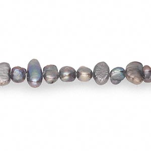 pearl, cultured freshwater (dyed), pewter, 4-5mm flat-sided potato, d grade, mohs hardness 2-1/2 to 4. sold per 14-inch strand.