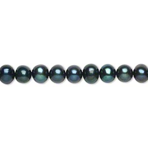 pearl, cultured freshwater (dyed), spruce, 5mm semi-round, c grade, mohs hardness 2-1/2 to 4. sold per 15-inch strand.