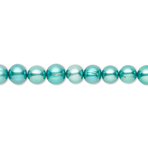 pearl, cultured freshwater (dyed), teal, 5-6mm semi-round, c- grade, mohs hardness 2-1/2 to 4. sold per 16-inch strand.