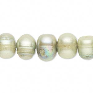 pearl, cultured freshwater (dyed), thyme, 9-11mm semi-round, d- grade, mohs hardness 2-1/2 to 4. sold per 16-inch strand.