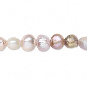 pearl, cultured freshwater, mauve, 6-7mm flat-sided potato, d- grade, mohs hardness 2-1/2 to 4. sold per 15-inch strand.