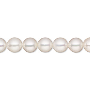 pearl, cultured saltwater (bleached), white, 7-7.5mm semi-round, b grade, mohs hardness 2-1/2 to 4. sold per 16-inch strand.