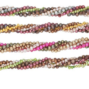 pearl mix, cultured freshwater (bleached / dyed), mixed colors, 4-8mm flat-sided potato and top-drilled rice, c- grade, mohs hardness 2-1/2 to 4. sold per pkg of (5) 14-inch strands.