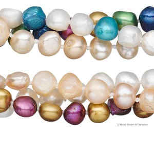 pearl mix, cultured freshwater (bleached / dyed), multicolored, 7-9mm mixed shape, mohs hardness 2-1/2 to 4. sold per pkg of (3) 47-inch knotted continuous loop.