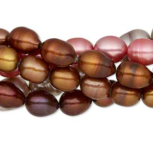 pearl mix, cultured freshwater (dyed), mixed colors, 7-9mm rice, d+ grade, mohs hardness 2-1/2 to 4. sold per pkg of (5) 15-inch strands.