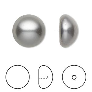 pearl, swarovski crystal cabochon, grey, 16mm half-drilled round (5817). sold per pkg of 2.