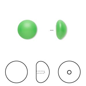pearl, swarovski crystal cabochon, neon green, 10mm half-drilled round (5817). sold per pkg of 50.