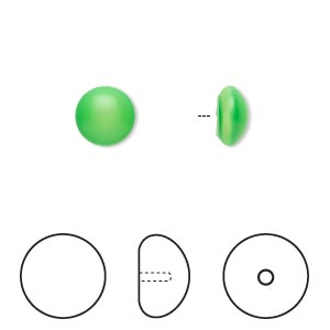 pearl, swarovski crystal cabochon, neon green, 8mm half-drilled round (5817). sold per pkg of 50.