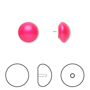 pearl, swarovski crystal cabochon, neon pink, 10mm half-drilled round (5817). sold per pkg of 2.
