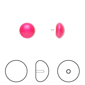 pearl, swarovski crystal cabochon, neon pink, 8mm half-drilled round (5817). sold per pkg of 2.