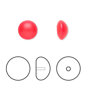 pearl, swarovski crystal cabochon, neon red, 10mm half-drilled round (5817). sold per pkg of 50.