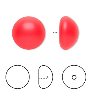pearl, swarovski crystal cabochon, neon red, 16mm half-drilled round (5817). sold per pkg of 50.