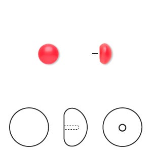 pearl, swarovski crystal cabochon, neon red, 6mm half-drilled round (5817). sold per pkg of 50.