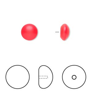 pearl, swarovski crystal cabochon, neon red, 8mm half-drilled round (5817). sold per pkg of 50.