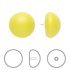 pearl, swarovski crystal cabochon, neon yellow, 16mm half-drilled round (5817). sold per pkg of 100.