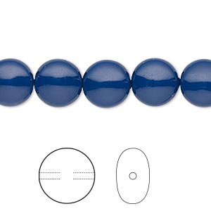 pearl, swarovski crystal gemcolors, dark lapis, 10mm coin (5860). sold per pkg of 10.