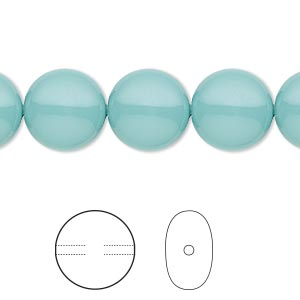 pearl, swarovski crystal gemcolors, jade, 12mm coin (5860). sold per pkg of 10.