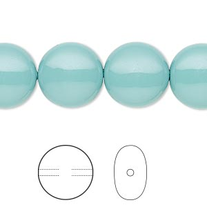 pearl, swarovski crystal gemcolors, jade, 14mm coin (5860). sold per pkg of 50.