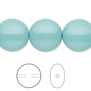 pearl, swarovski crystal gemcolors, jade, 16mm coin (5860). sold per pkg of 5.