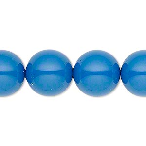 pearl, swarovski crystal gemcolors, lapis, 14mm round with 1.3-1.5mm hole (5811). sold per pkg of 10.