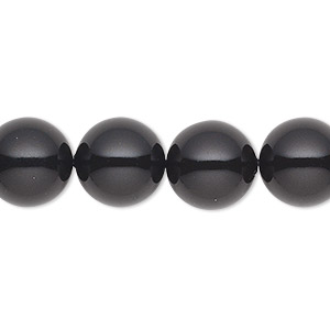 pearl, swarovski crystal gemcolors, mystic black, 12mm round (5810). sold per pkg of 10.