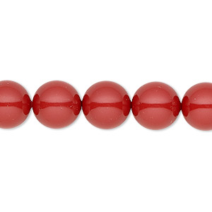 pearl, swarovski crystal gemcolors, red coral, 10mm round (5810). sold per pkg of 25.