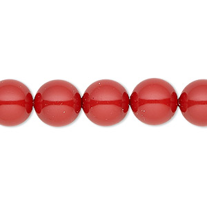 pearl, swarovski crystal gemcolors, red coral, 10mm round with 1.3-1.5mm hole (5811). sold per pkg of 100.