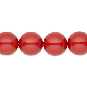 pearl, swarovski crystal gemcolors, red coral, 12mm round with 1.3-1.5mm hole (5811). sold per pkg of 10.