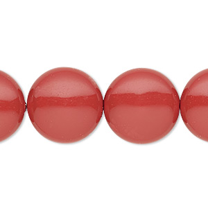 pearl, swarovski crystal gemcolors, red coral, 16mm coin (5860). sold per pkg of 25.