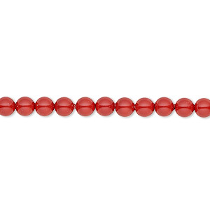 pearl, swarovski crystal gemcolors, red coral, 4mm round (5810). sold per pkg of 500.