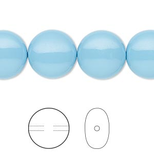 pearl, swarovski crystal gemcolors, turquoise, 14mm coin (5860). sold per pkg of 10.