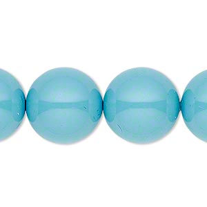 pearl, swarovski crystal gemcolors, turquoise, 16mm round with 1.3-1.5mm hole (5811). sold per pkg of 25.