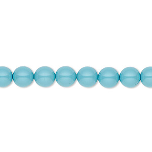 pearl, swarovski crystal gemcolors, turquoise, 6mm round (5810). sold per pkg of 500.