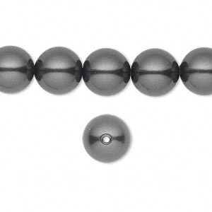 pearl, swarovski crystals, black, 10mm round with 1.3-1.5mm hole (5811). sold per pkg of 25.