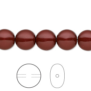 pearl, swarovski crystals, bordeaux, 10mm coin (5860). sold per pkg of 10.