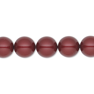 pearl, swarovski crystals, bordeaux, 10mm round (5810). sold per pkg of 25.