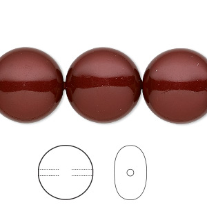 pearl, swarovski crystals, bordeaux, 16mm coin (5860). sold per pkg of 5.
