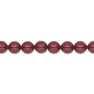 pearl, swarovski crystals, bordeaux, 6mm round (5810). sold per pkg of 50.