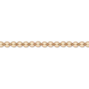 pearl, swarovski crystals, bright gold, 3mm round (5810). sold per pkg of 100.