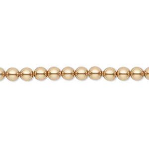 pearl, swarovski crystals, bright gold, 4mm round (5810). sold per pkg of 100.