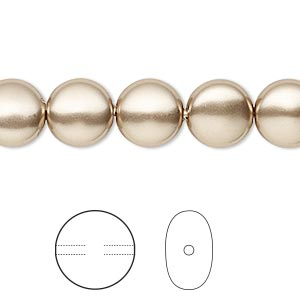 pearl, swarovski crystals, bronze, 10mm coin (5860). sold per pkg of 10.
