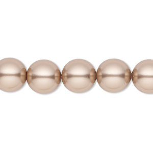 pearl, swarovski crystals, bronze, 10mm round with 1.3-1.5mm hole (5811). sold per pkg of 25.