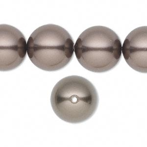 pearl, swarovski crystals, brown, 14mm round with 1.3-1.5mm hole (5811). sold per pkg of 50.