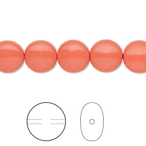 pearl, swarovski crystals, coral, 10mm coin (5860). sold per pkg of 10.
