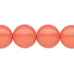 pearl, swarovski crystals, coral, 14mm coin (5860). sold per pkg of 50.